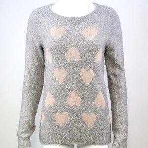 LC Lauren Conrad Gray Pink Heart Fuzzy Sweater
